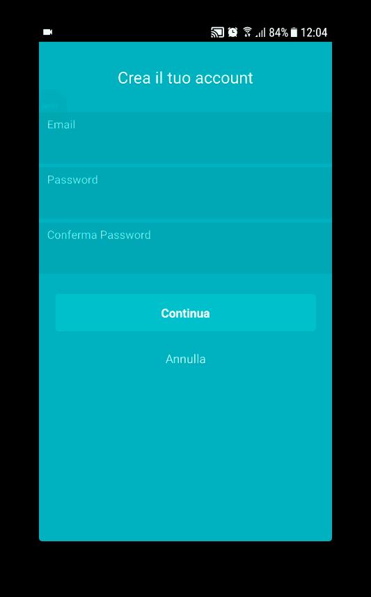 inserimento dati account in tempomat